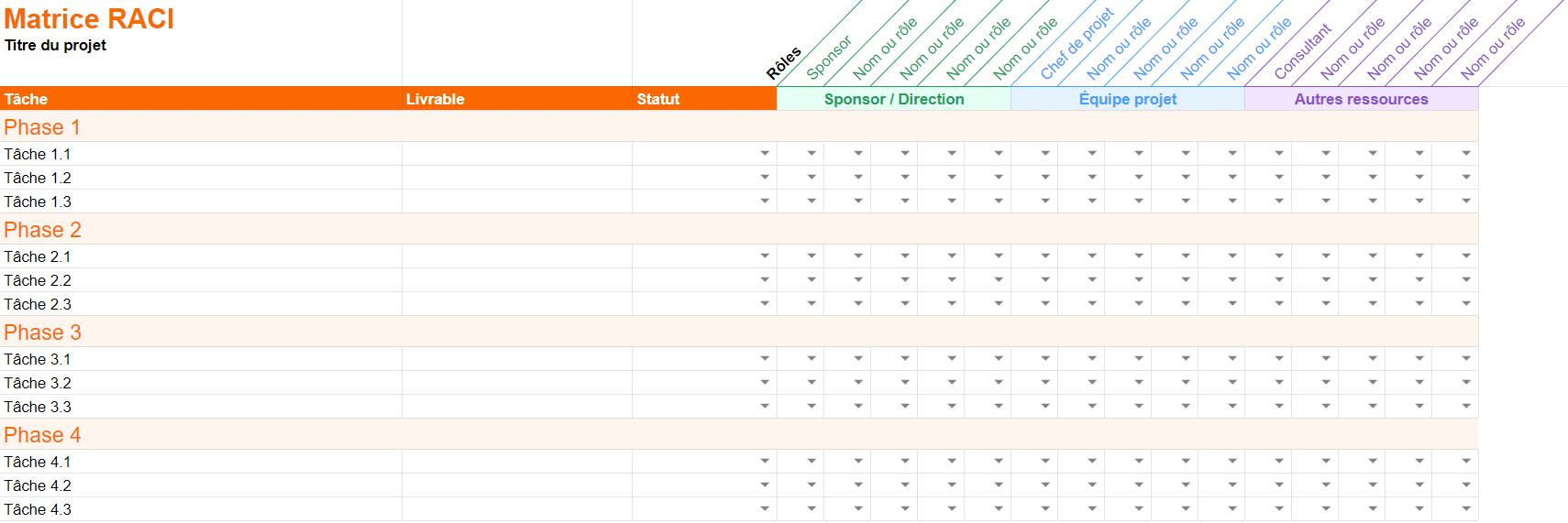 matrice raci vierge excel pdf template francais